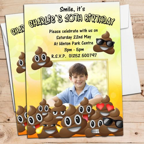 10 Personalised EMOJI POO Birthday Party PHOTO Invitations N219 ANY AGE